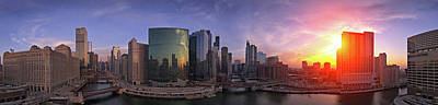 Crowd Scene Photograph - Skylines At The Waterfront, Chicago by Panoramic Images