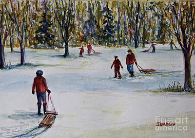 Sledding Art Print by Joyce A Guariglia
