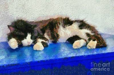 Painting - Sleeping Cat In Sifnos Island by George Atsametakis