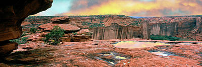 Slickrock Waterpocket Pools Reflect Art Print by Panoramic Images
