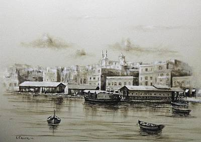 Painting - Sliema Ferries  1940 by Tony Calleja
