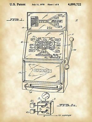 Slot Machine Patent 1978 - Vintage Art Print by Stephen Younts
