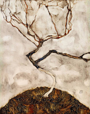 Autumn Landscape Drawing - Small Tree In Late Autumn by Mountain Dreams