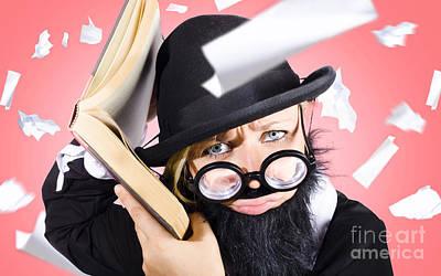 Smart Nerd Businessman Listening To Book Info Art Print by Jorgo Photography - Wall Art Gallery