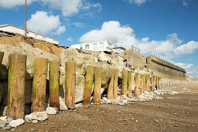 Smashed Concrete Sea Defences Art Print by Ashley Cooper