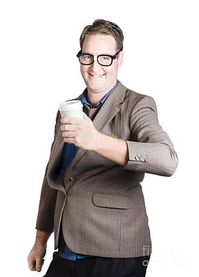Smiling Business Man With Coffee Drink. Work Break Art Print by Jorgo Photography - Wall Art Gallery