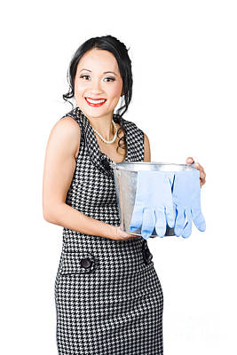 Smiling Female Cleaner Ready To Start Housework Art Print