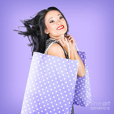 Smiling Girl Shopper Holding Purple Shopping Bags Print by Jorgo Photography - Wall Art Gallery