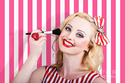 Vintage Pinup Photograph - Smiling Makeup Girl Using Cosmetic Powder Brush by Jorgo Photography - Wall Art Gallery