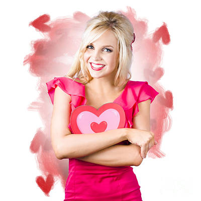Photograph - Smiling Romantic Blond Female Hugging Love Heart by Jorgo Photography - Wall Art Gallery