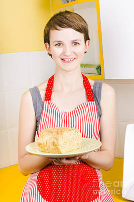 Pleasure Photograph - Smiling Woman Holding Fresh Loaf Of Homemade Bread by Jorgo Photography - Wall Art Gallery