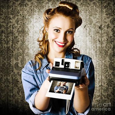 Smiling Young Vintage Girl Taking Polaroid Photo Art Print