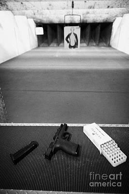 Smith And Wesson 9mm Handgun With Ammunition At A Gun Range In Florida Usa Print by Joe Fox