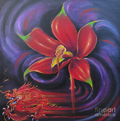 Art Print featuring the painting Snap Dragon by S G