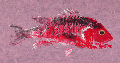 Gyotaku Painting - Gyotaku Snapper by Captain Warren Sellers