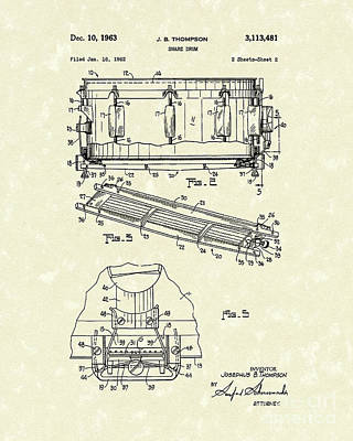 Snare Drum Drawing - Snare Drum 1963 Patent Art by Prior Art Design
