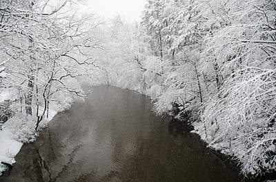 Wissahickon Creek Photograph - Snow Along The Wissahickon Creek by Bill Cannon