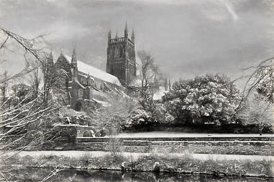 Snow Scene Landscape Drawing - Snow Covered Cathedral 2 by Roy Pedersen