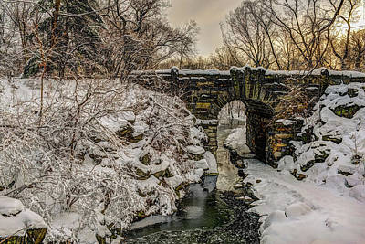 Snow-covered Glen Span Arch, Central Art Print by F. M. Kearney