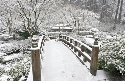 Oriental Bridges Photograph - Snow-covered Moon Bridge, Portland by William Sutton