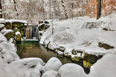 Snow-covered Waterfall In The Loch Art Print