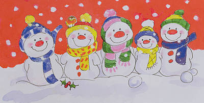 Painting - Snow Family  by Diane Matthes