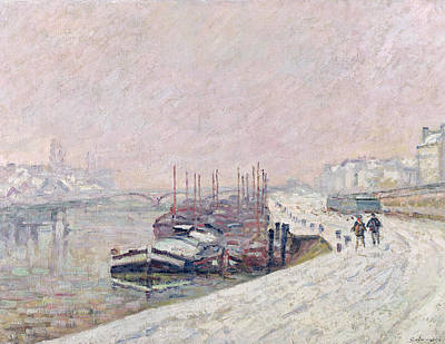 Impressionistic Landscape Painting - Snow In Rouen by Jean Baptiste Armand Guillaumin