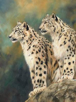 Snow Leopard Painting - Snow Leopards by David Stribbling