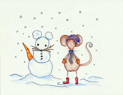 Wall Art - Drawing - Snow Mouse And Friend by Sarah LoCascio