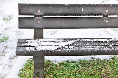 Snow On Bench Art Print by Tom Gowanlock