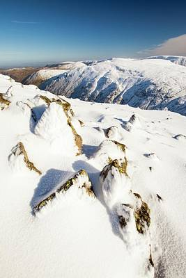 Scree Photograph - Snow On Red Screes by Ashley Cooper