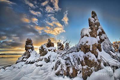 Bishops Peak Photograph - Snow On Tufa At Mono Lake by Peter Dang