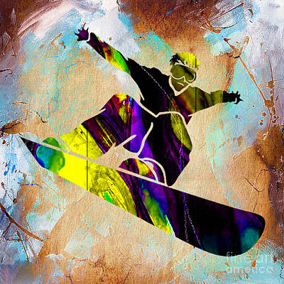 Mixed Media - Snowboarder by Marvin Blaine
