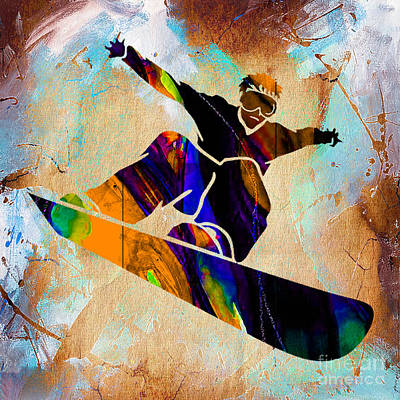 Mixed Media - Snowboarder Painting by Marvin Blaine