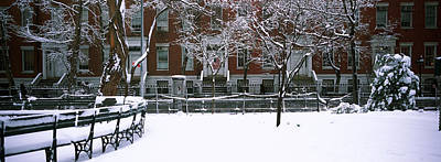 Snowcapped Benches In A Park Art Print by Panoramic Images