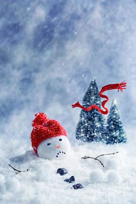 Knit Photograph - Snowman  by Amanda Elwell