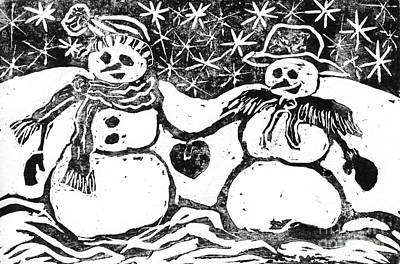 Snowwoman Painting - Snowman Couple by Ellen Miffitt