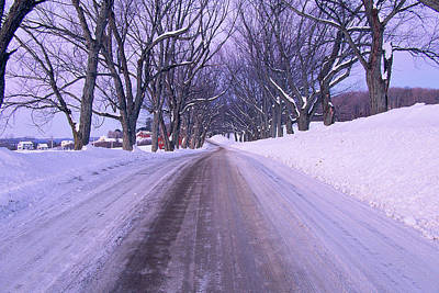 Snowy Country Road Art Print by Panoramic Images