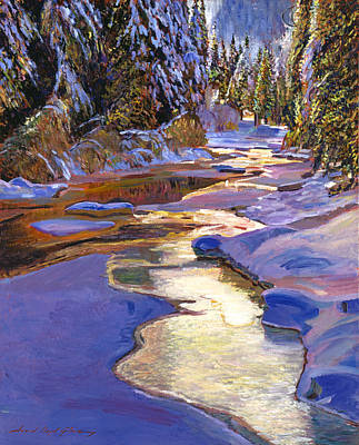 Snowy Creek Art Print by David Lloyd Glover
