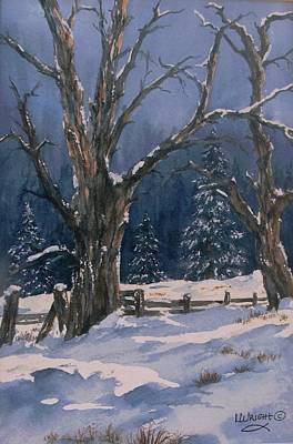 Painting - Snowy Fence by Lynne Wright