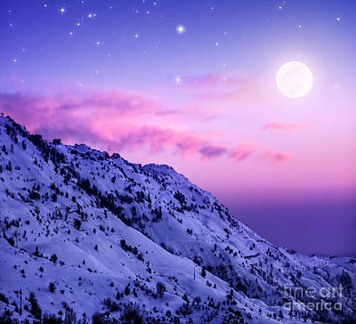 Snowy Night Photograph - Snowy Mountains by Anna Om