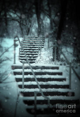 Snowy Night Photograph - Snowy Stairway by Jill Battaglia