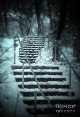 Snowy Stairway Print by Jill Battaglia