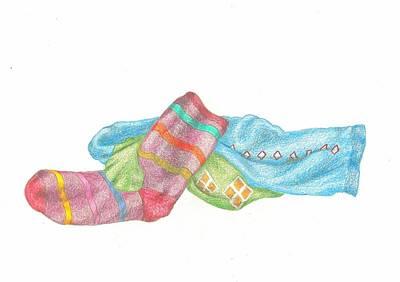 Drawing - Socks 1 by Lew Davis