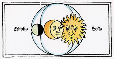 Eclipse Drawing - Solar Eclipse, 1482 by Granger