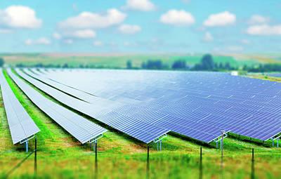 One Point Perspective Photograph - Solar Farm by Wladimir Bulgar