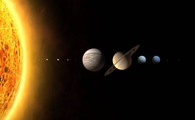 Neptune Wall Art - Photograph - Solar System's Planets by The International Astronomical Union/martin Kornmesser/science Photo Library