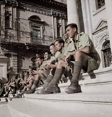 Photograph - Soldiers Sitting On The Steps by Stocktrek Images