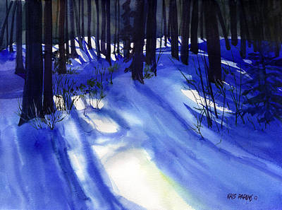 Snowstorm Painting - Solstice Shadows by Kris Parins
