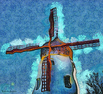 Abstract Digital Art - Solvang California Windmill Abstract by Barbara Snyder